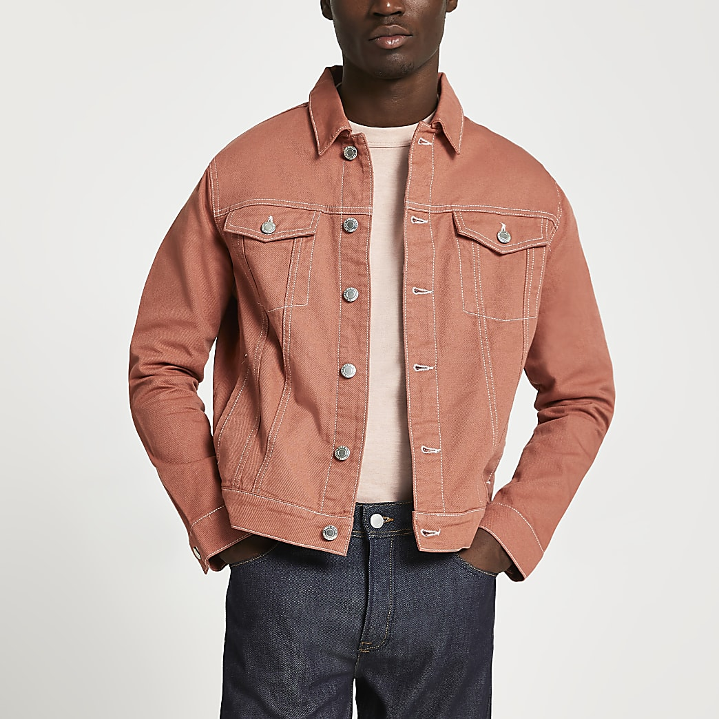 Orange contrast stitch denim jacket