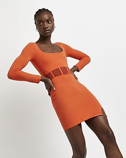 Orange corset bodycon dress