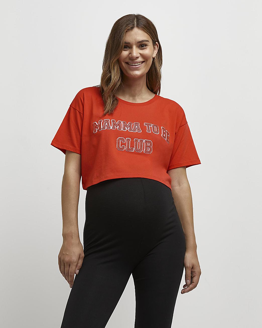 Orange cropped maternity t-shirt