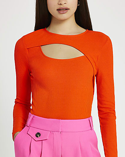Orange cut out top