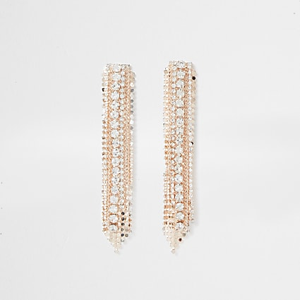 Orange diamante drop earrings