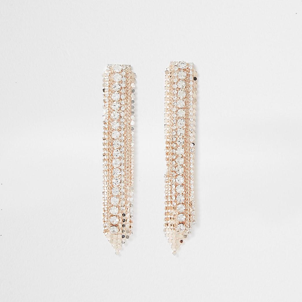 Orange diamante drop earrings