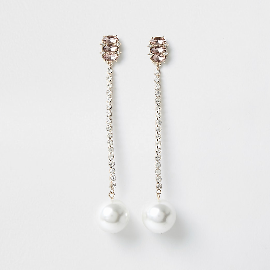 Orange diamante pearl drop earrings
