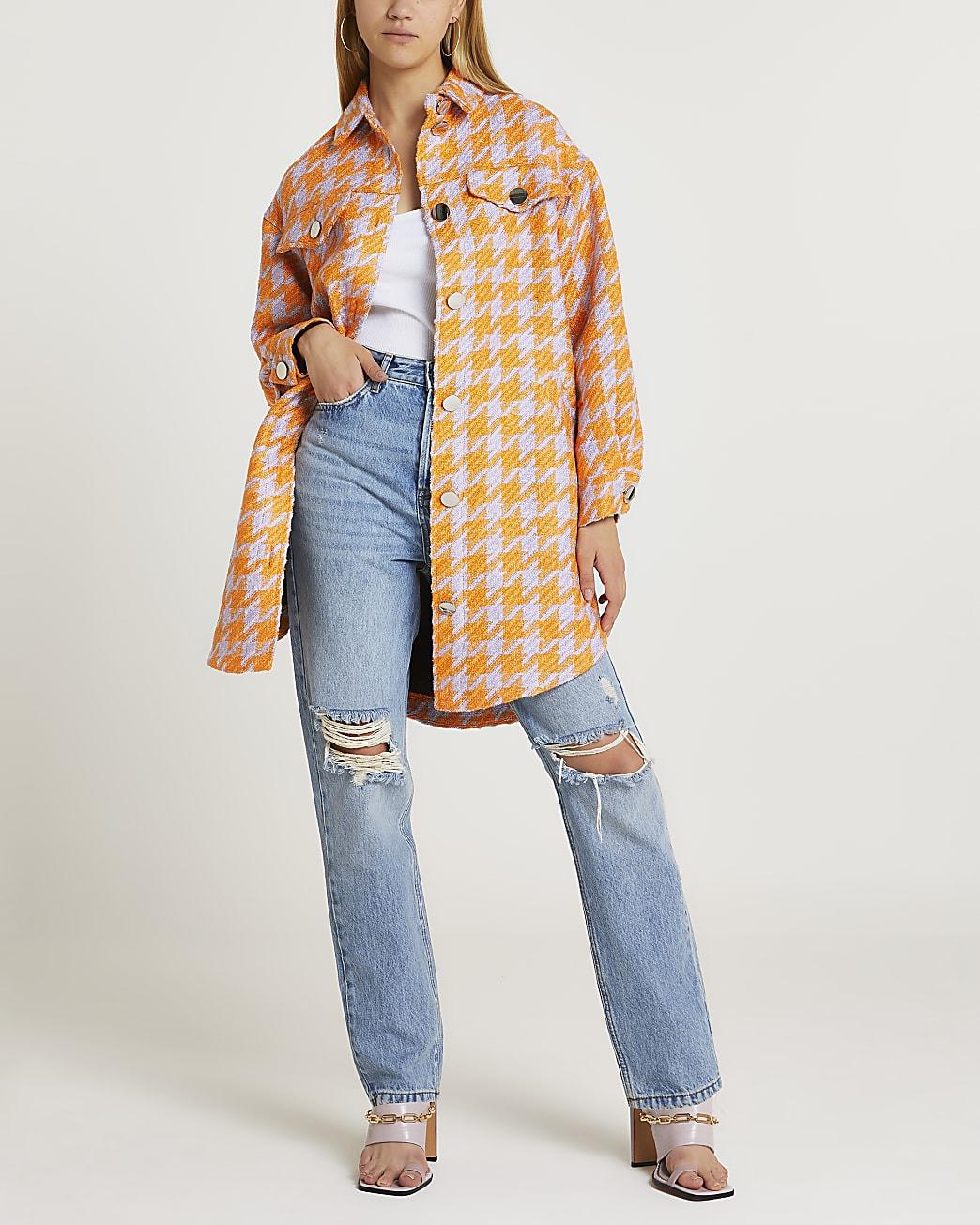 Orange dogtooth check shacket