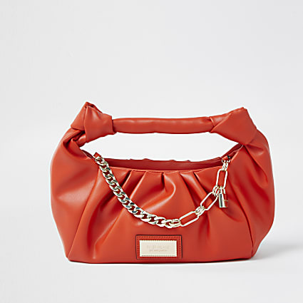 Orange double knot chain ruched bag