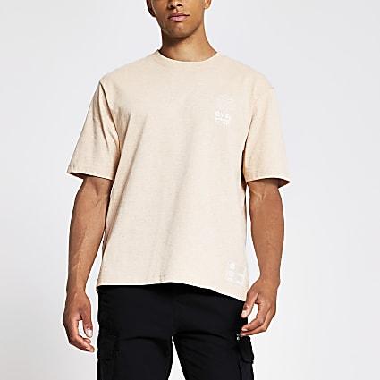 Orange dye print boxy fit T-shirt