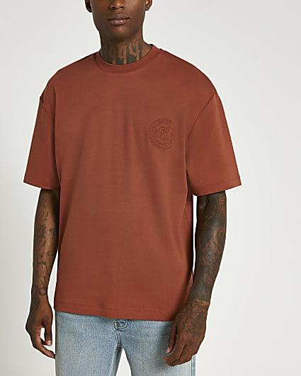 Orange embroidered oversized t-shirt