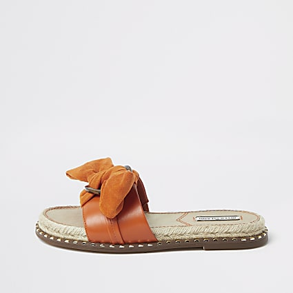 Orange espadrille bow sandal