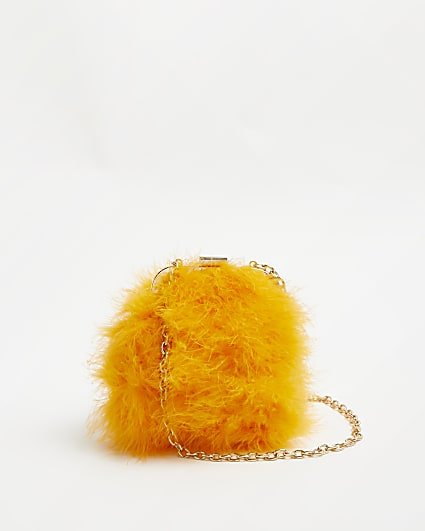 Orange faux feather shoulder bag