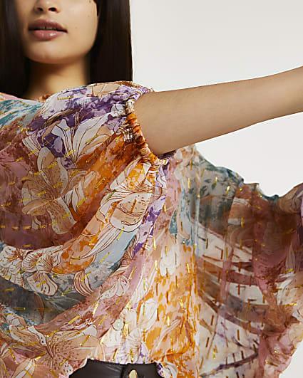 Orange floral batwing sleeve blouse