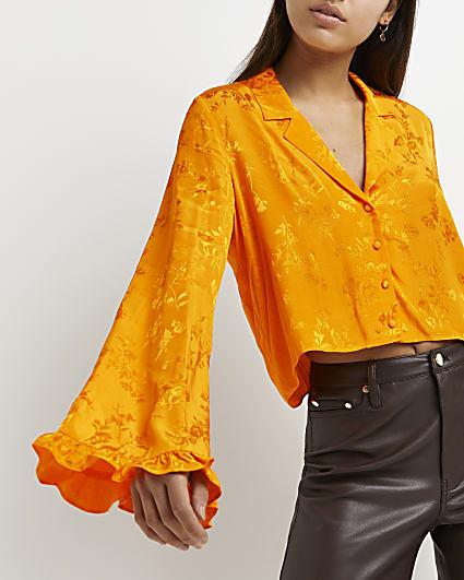 Orange floral cropped shirt