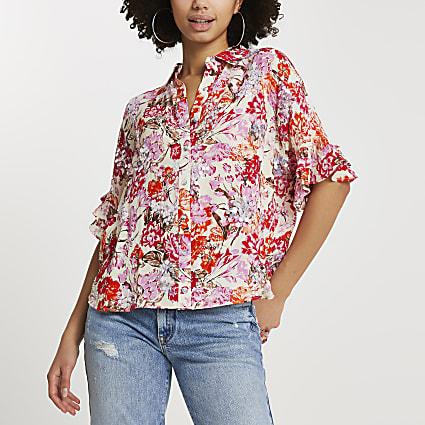 Orange floral embellished shirt