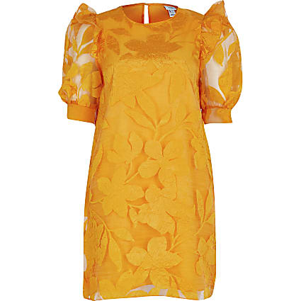 Orange Floral Organza Ss Dress