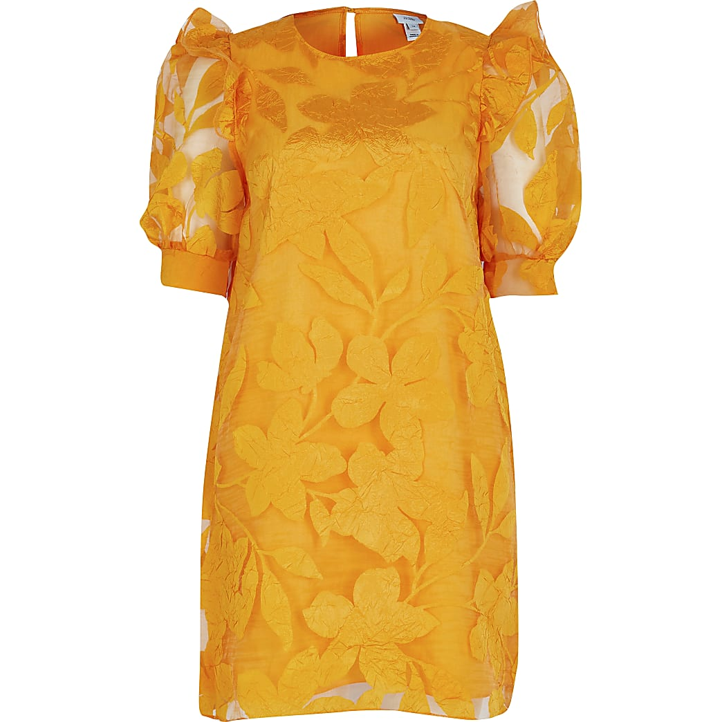 Orange Floral Organza Ss Dress