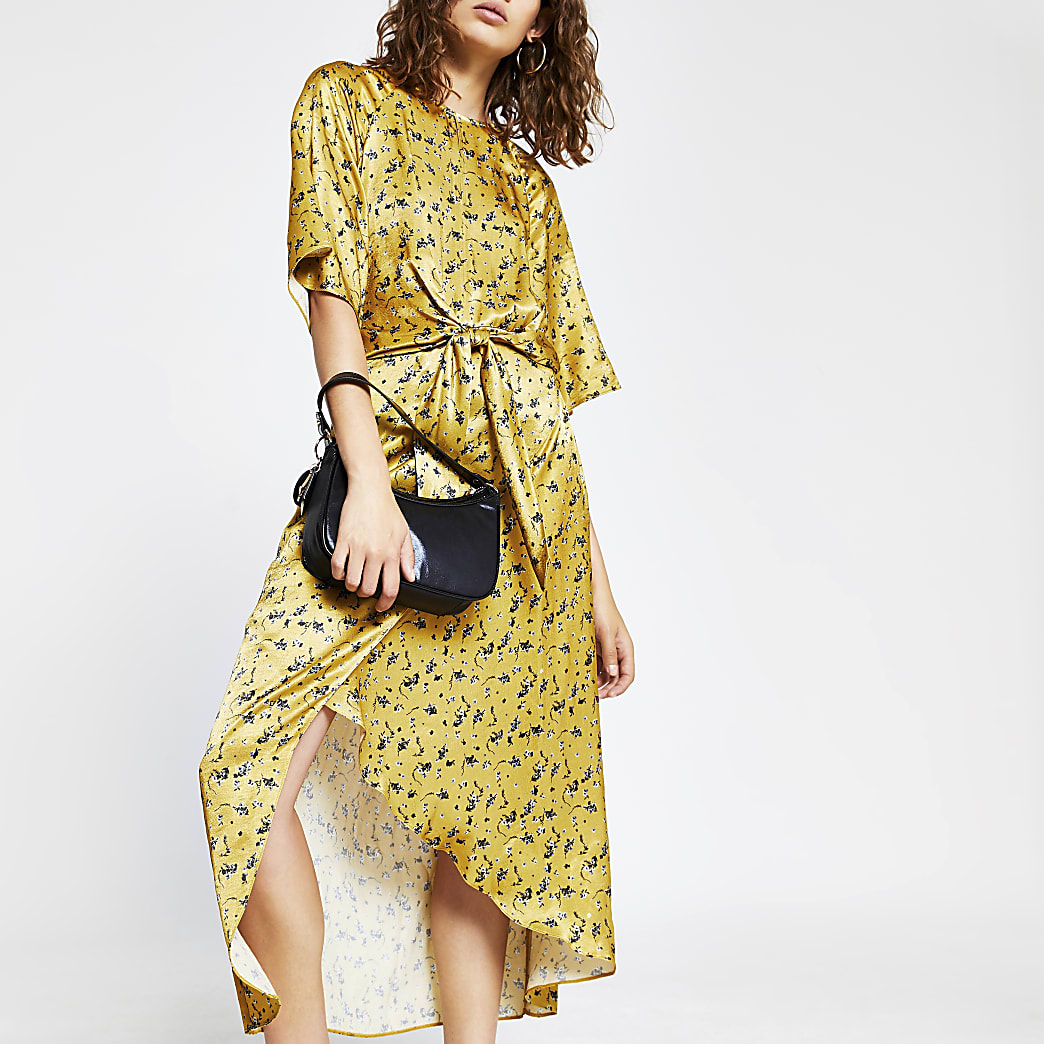 Orange floral print drape knot midi dress