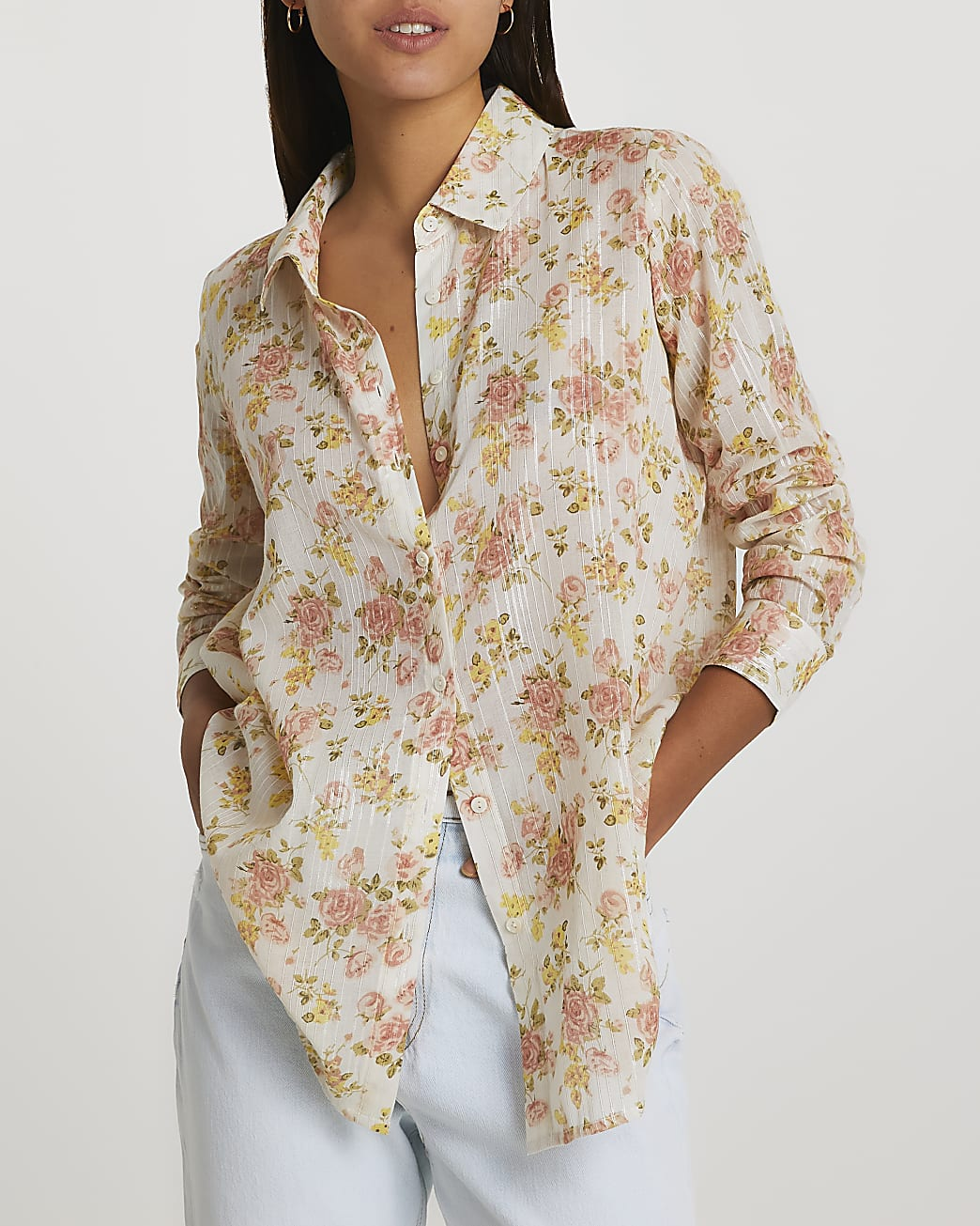 Orange floral print shirt