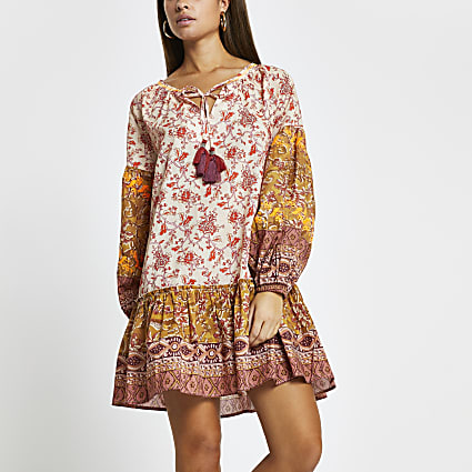 Orange floral print smock beach dress