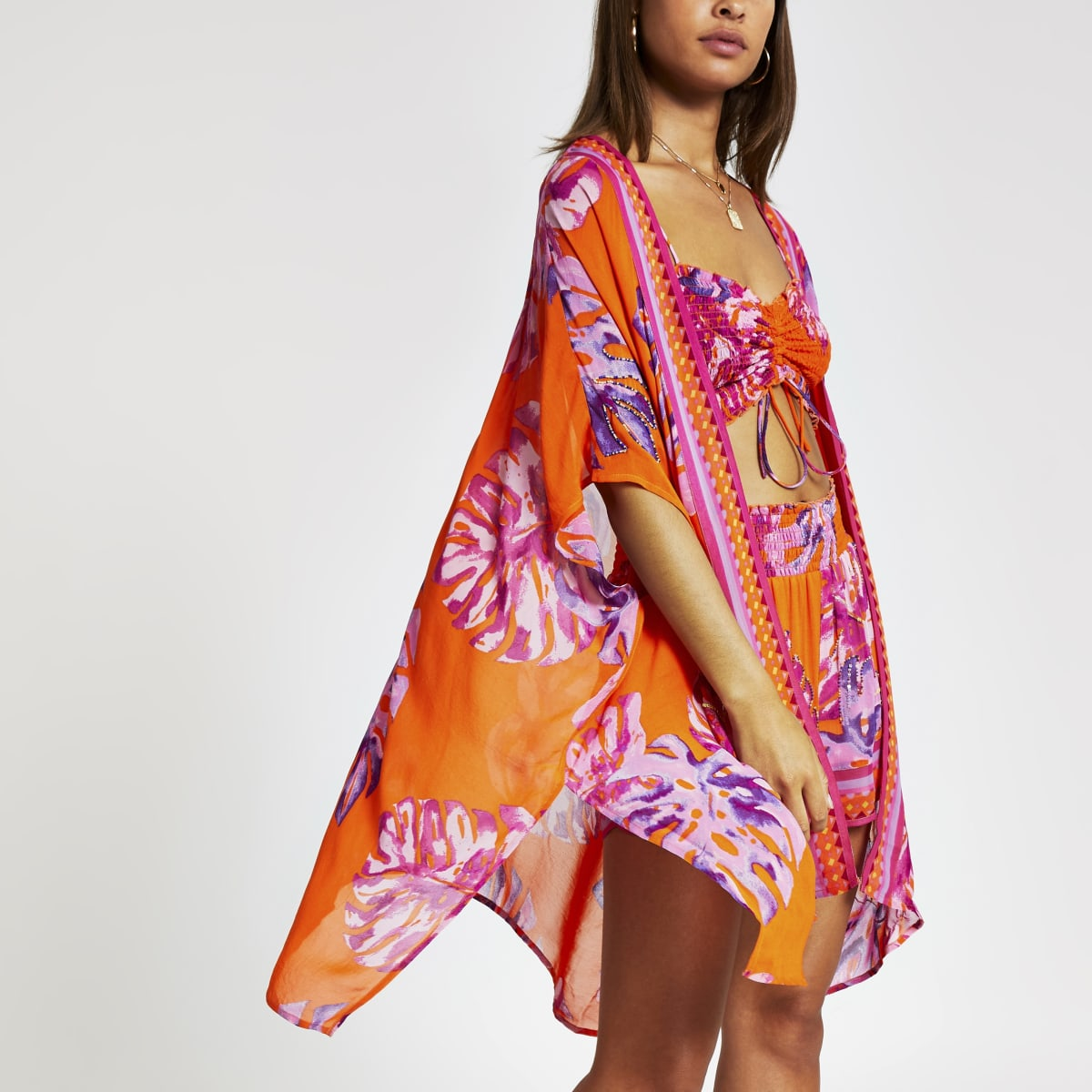 Caftan imprimé fleuri orange