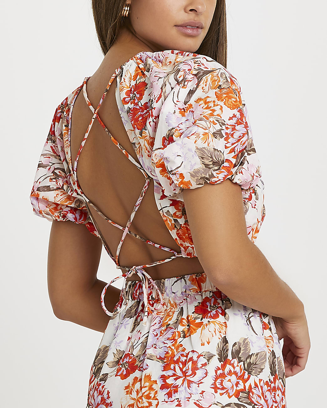 Orange floral puff sleeve tie back crop top
