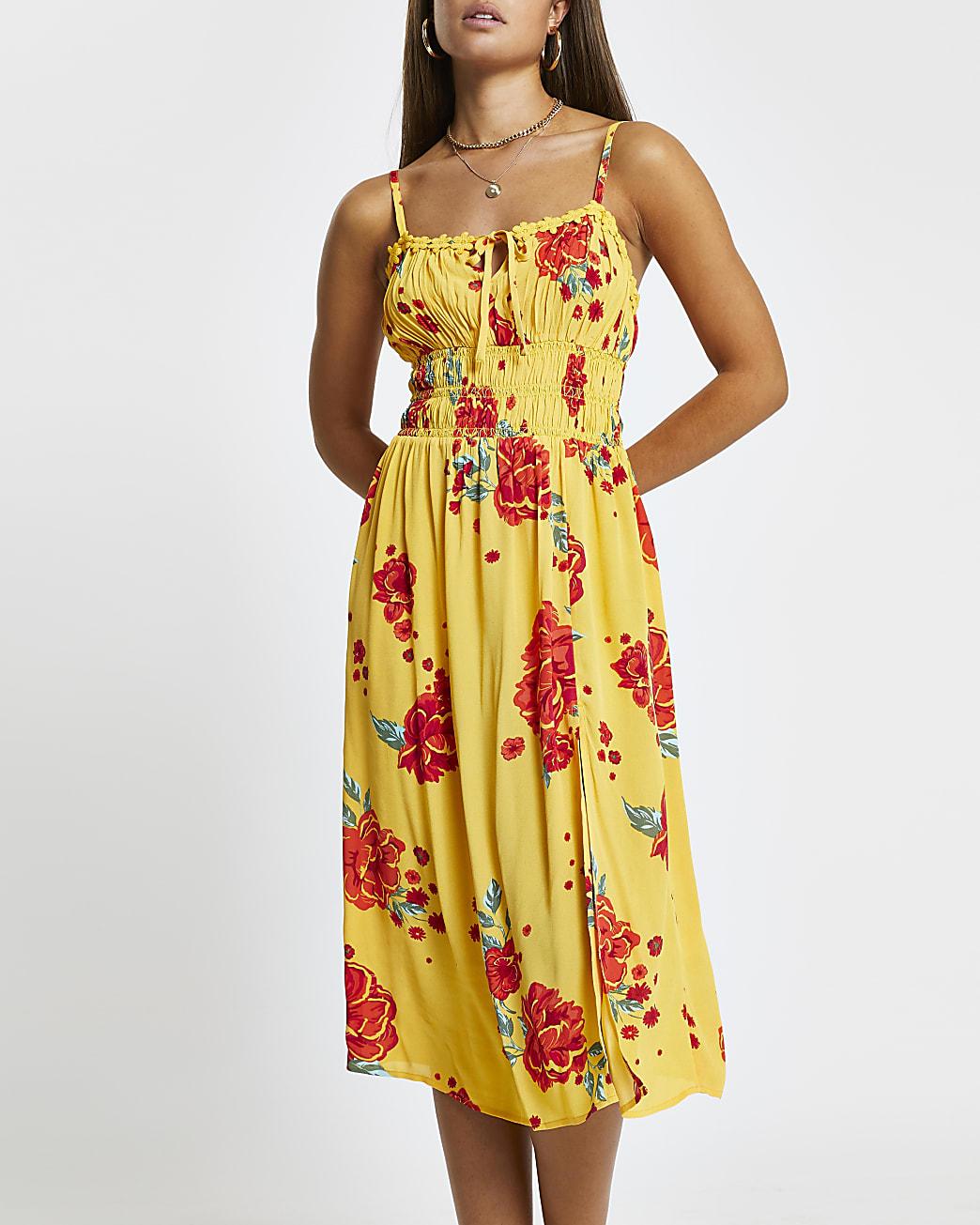 Orange floral shirred midi beach dress