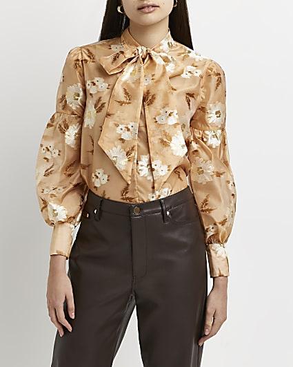 Orange floral tie neck blouse