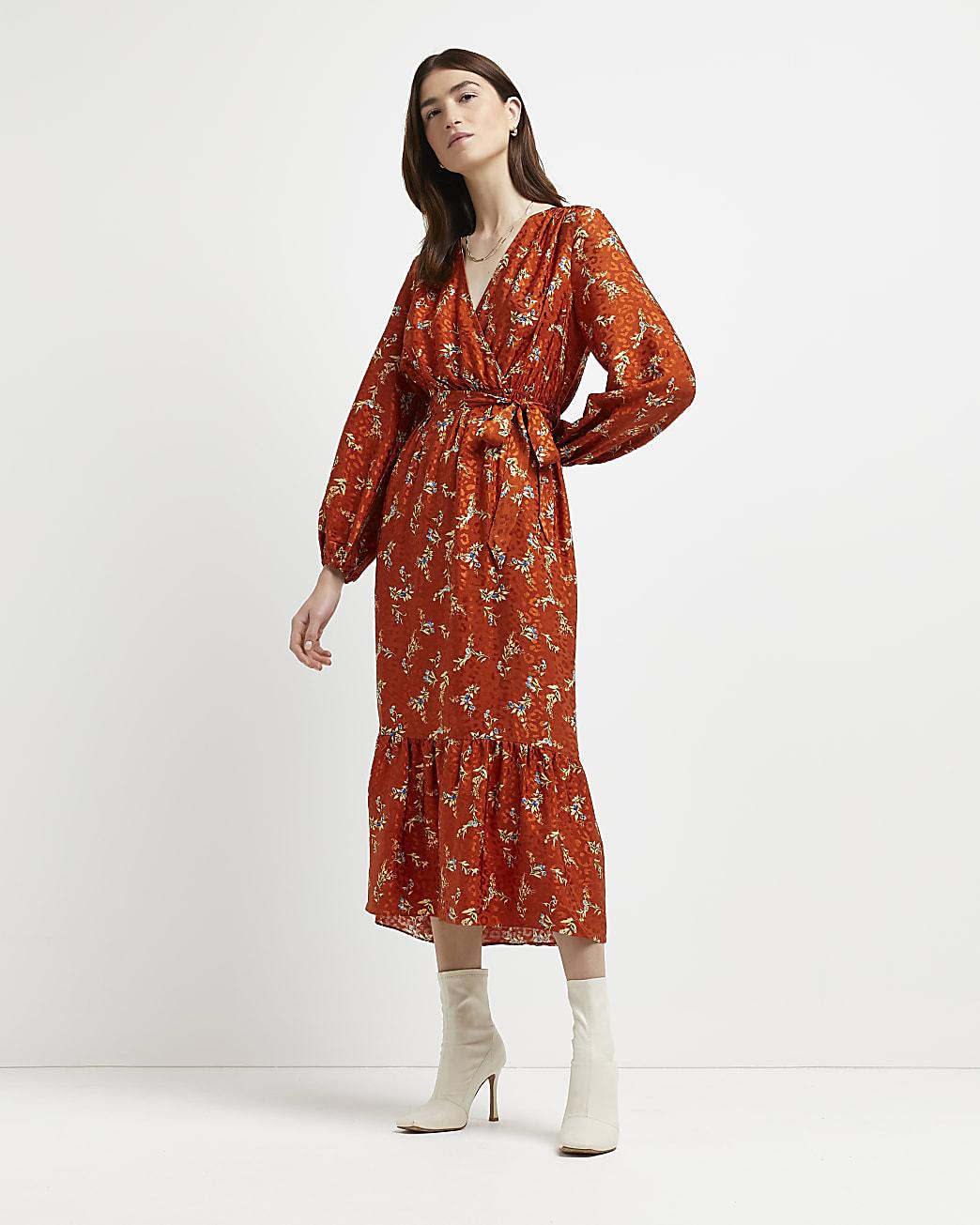 Orange floral wrap front midi dress