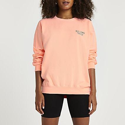 Orange fluro RI branded cropped sweatshirt