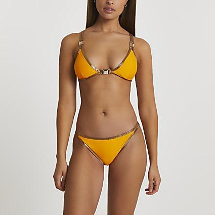 Orange foil dot tanga bikini briefs