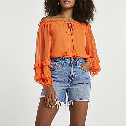 Orange frill detail bardot top