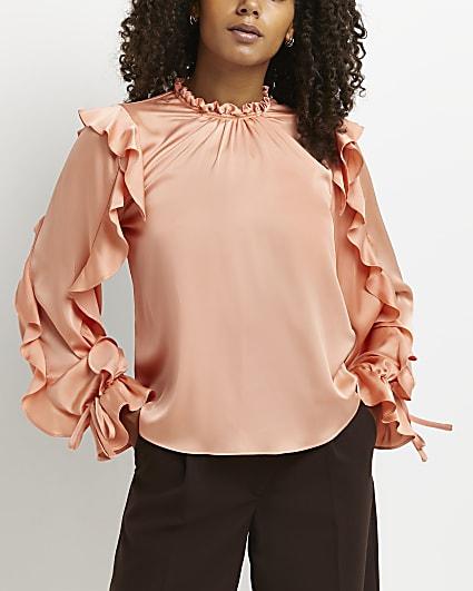 Orange frill detail blouse