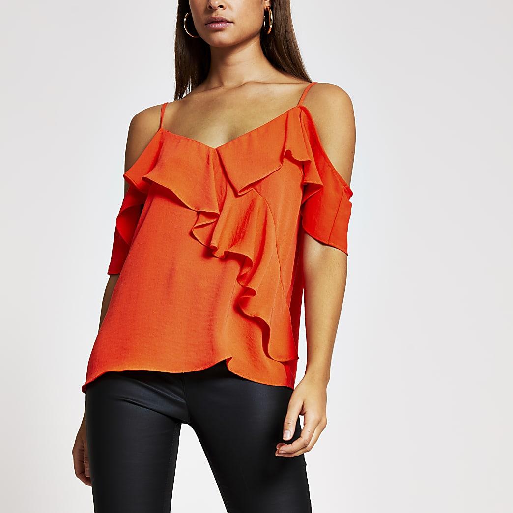 Orange frill off shoulder cami top