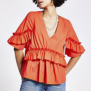 Haut en popelineà manches courtesà volants orange