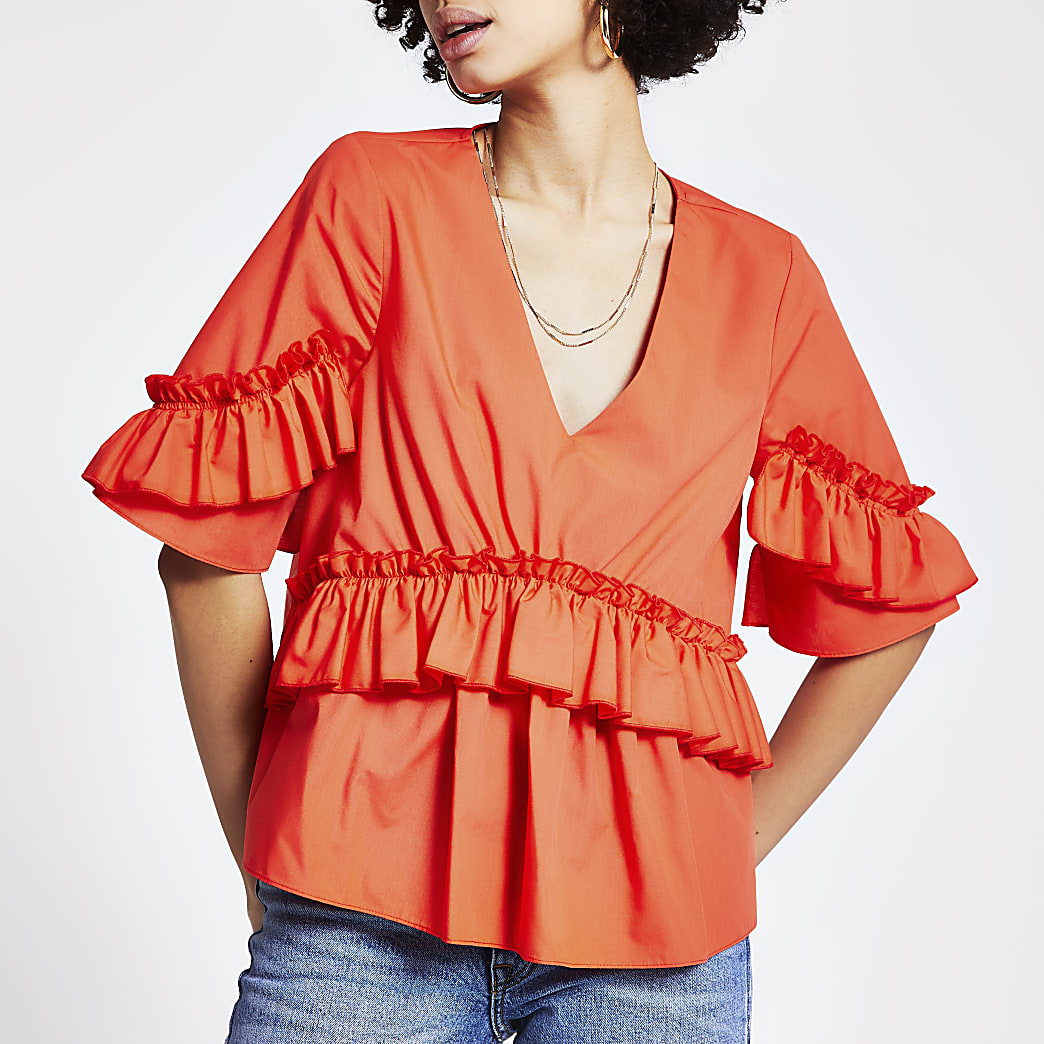 Orange frill short sleeve poplin top