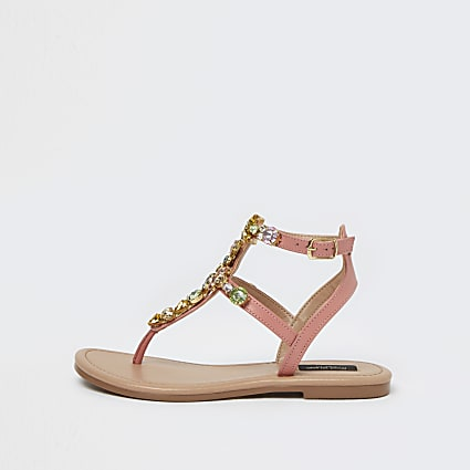 Orange gem embellished caged sandals