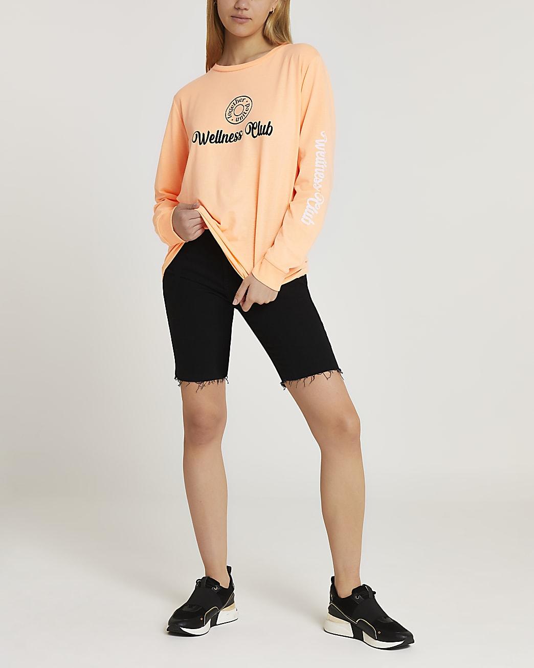 Orange graphic long sleeve t-shirt