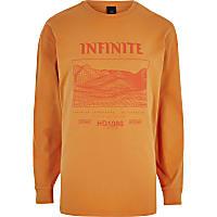 Orange 'infinite' print long sleeve T-shirt