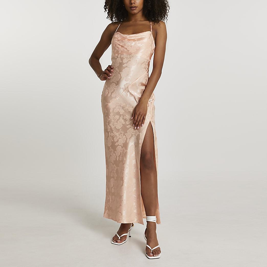 Orange jacquard cowl midi slip dress