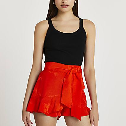 Orange jacquard frill tie waist shorts