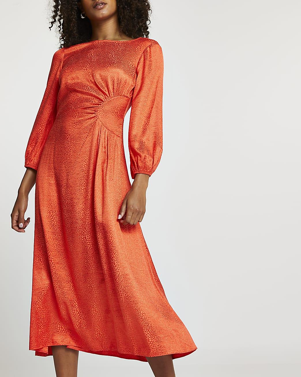 Orange jacquard ruched maxi dress