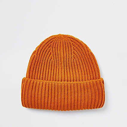 Orange knitted fisherman beanie hat