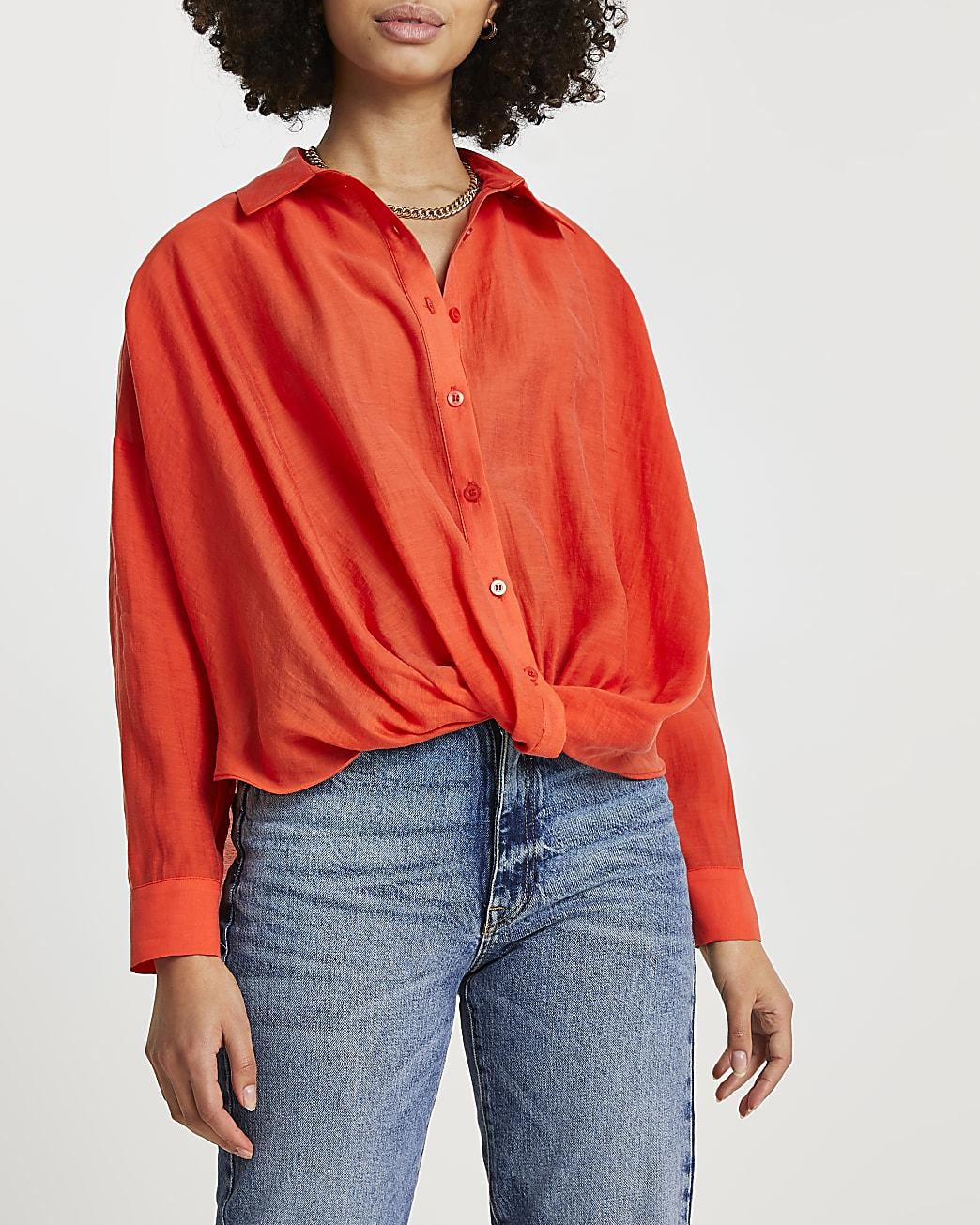 Orange knot front long sleeve shirt