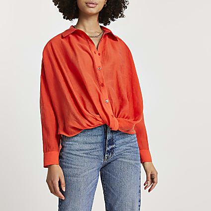 Orange knot front long sleeve shirt