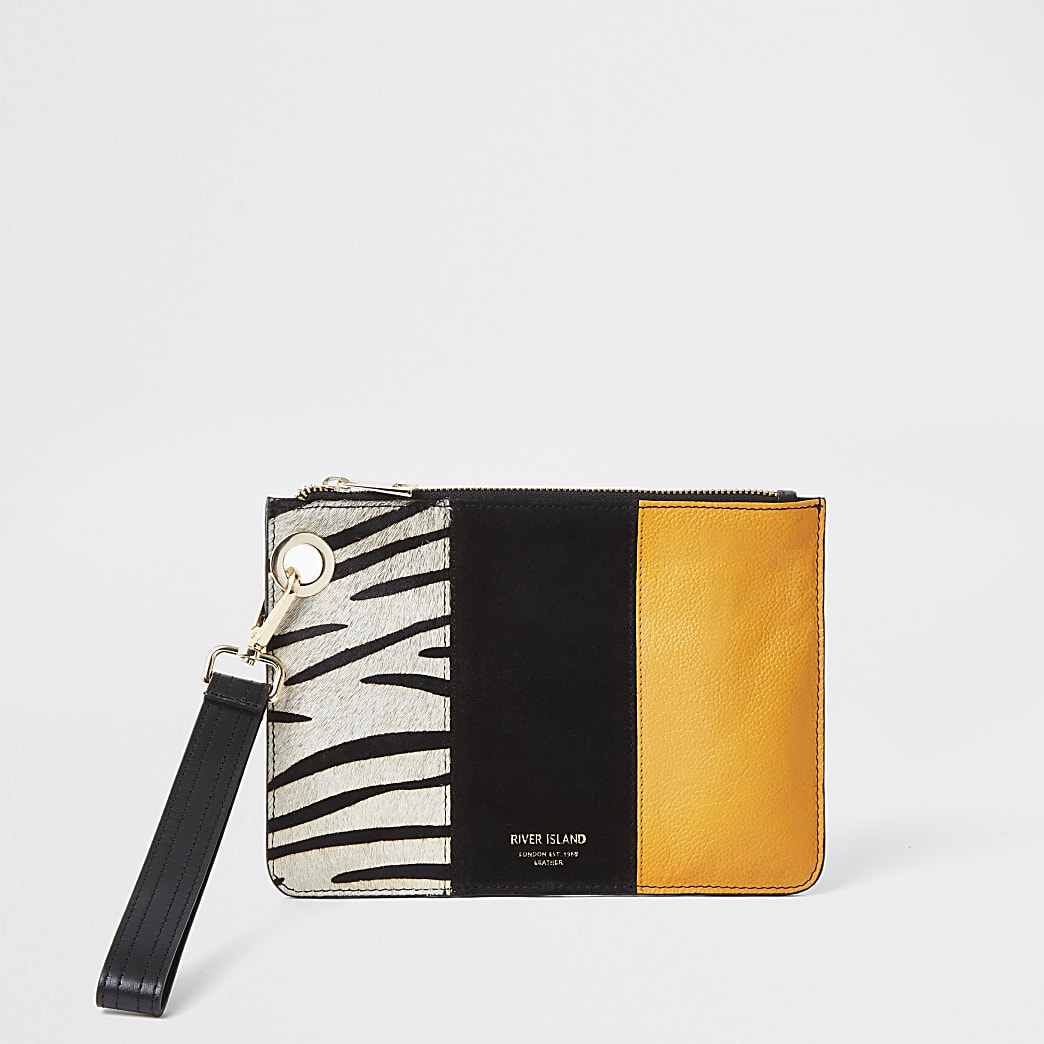 Orange leather Zebra print block clutch bag