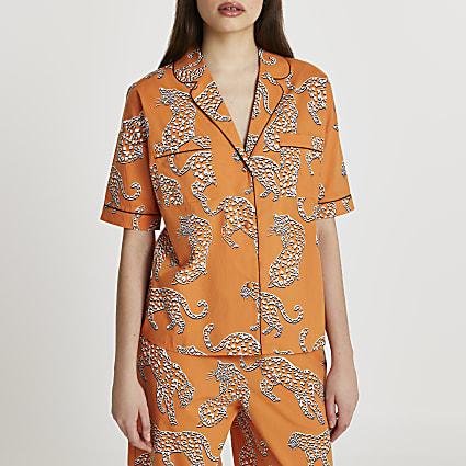 Orange leopard printed pyjama shirt