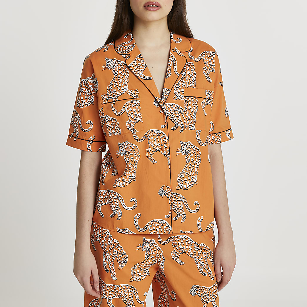 Orange leopard printed pyjama shirt
