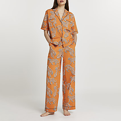 Orange leopard printed pyjama trousers