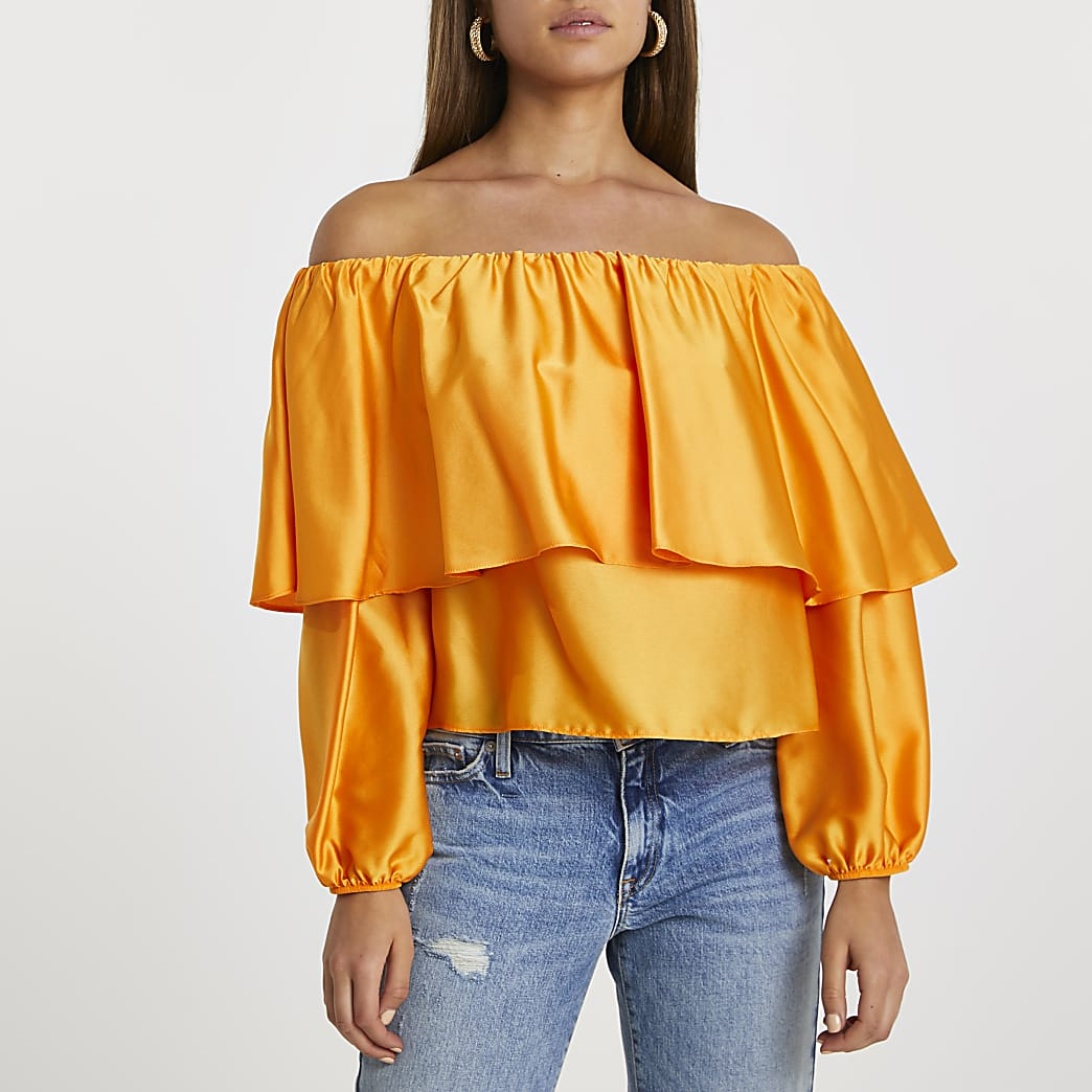 Orange long sleeve frill overlay bardot top