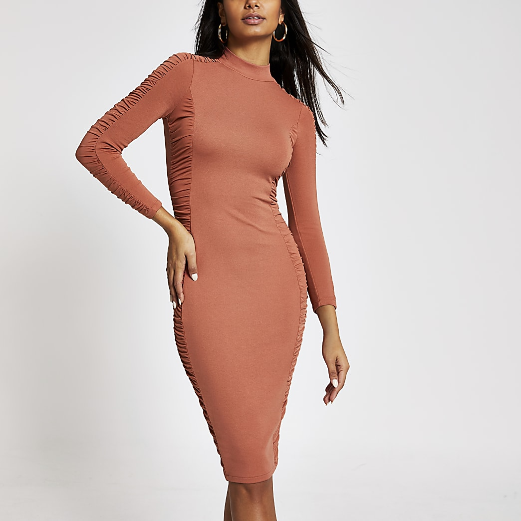 Orange long sleeve ruched bodycon dress
