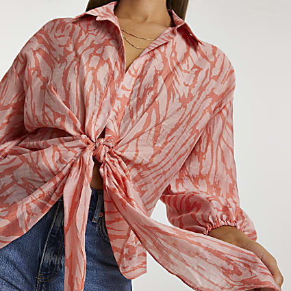 Orange long sleeve twist front tie shirt