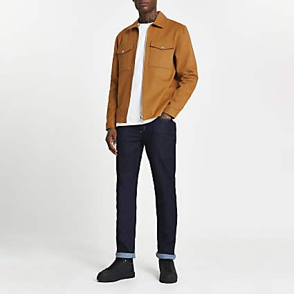 Orange long sleeve zip front shacket